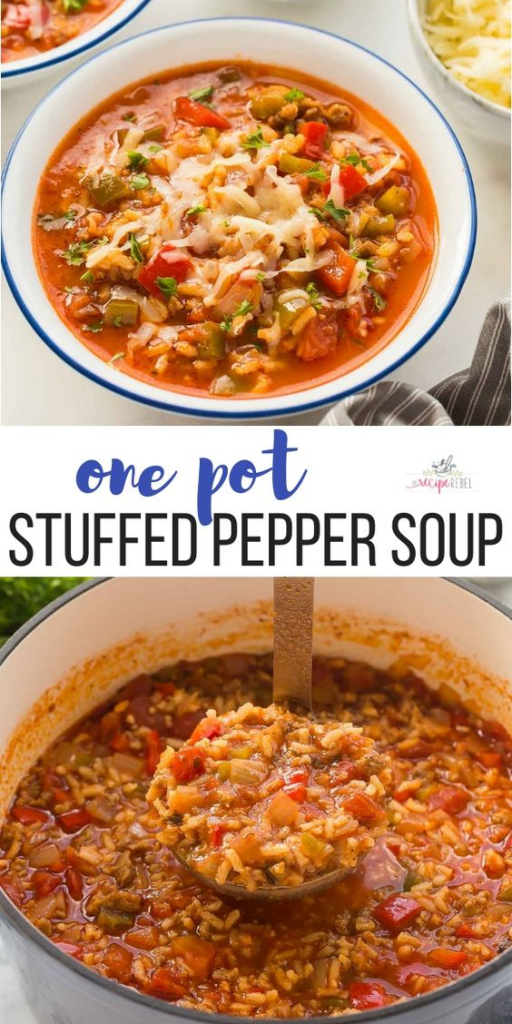 One Pot Stuffed Pepper Soup