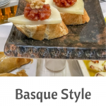 A plate of Basque style open sandwiches or Pintxos