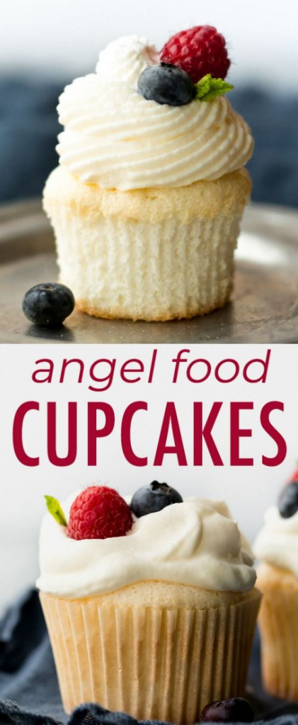 Angel Food Cupcakes with summer berries