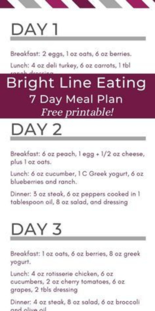 Bright Lines Eating 7 Day Meal Plan