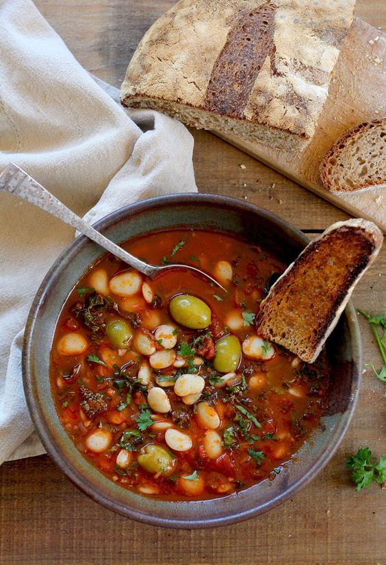 Lima Bean Stew with Olives and Kale