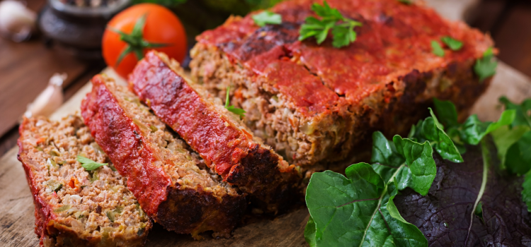 Sliced and beautifully presented meatloaf
